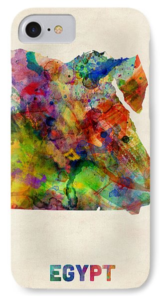 Egypt Watercolor Map Phone Case by Michael Tompsett