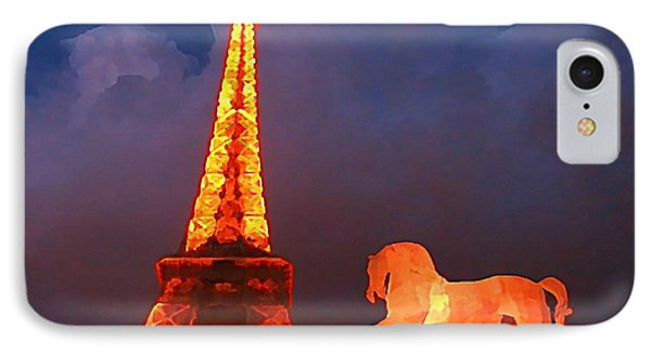 Eiffel Tower And Horse Phone Case by John Malone