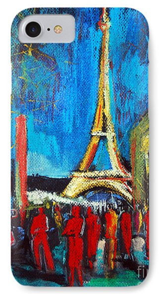 Eiffel Tower And The Red Visitors IPhone Case by Mona Edulesco