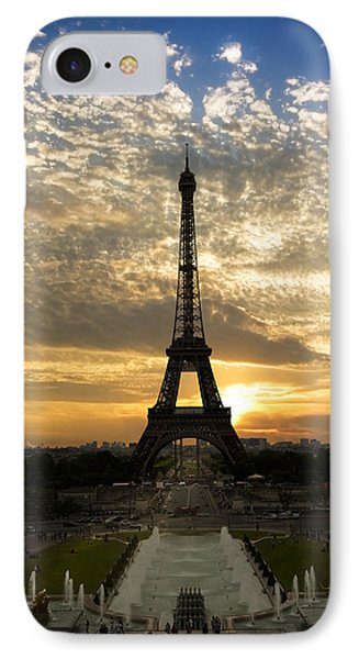 Eiffel Tower At Sunset IPhone Case by Debra and Dave Vanderlaan
