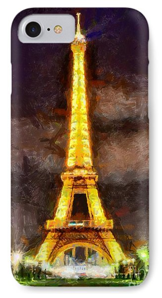 IPhone Case featuring the digital art Eiffel Tower By Night by Kai Saarto