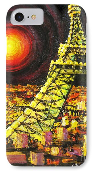IPhone Case featuring the painting Eiffel Tower by Cheryl Del Toro
