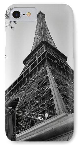 Eiffel Tower In Black And White IPhone Case by Jennifer Ancker