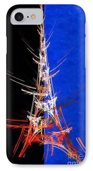 Eiffel Tower In Red On Blue  Abstract  Phone Case by Andee Design
