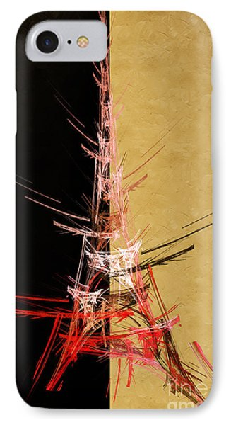 Eiffel Tower In Red On Gold  Abstract  Phone Case by Andee Design