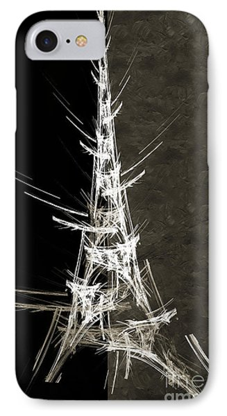 Eiffel Tower In White Bw 2 Abstract Phone Case by Andee Design