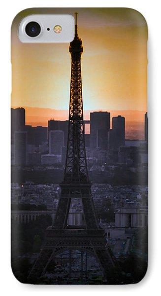 Eiffel Tower Sunset Phone Case by Debra     Vatalaro