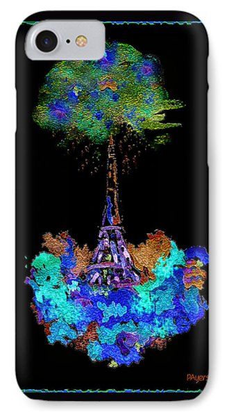 IPhone Case featuring the painting Eiffel Tower Topiary by Paula Ayers