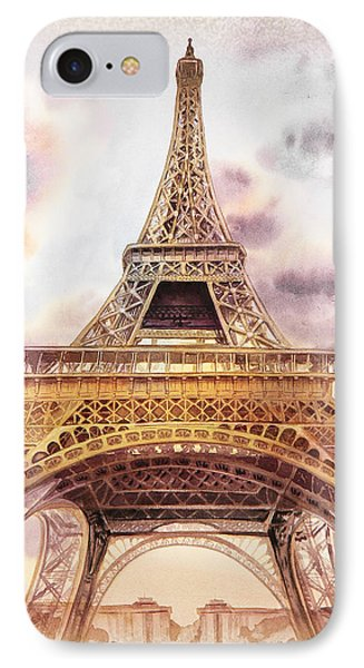 IPhone 7 Case featuring the painting Eiffel Tower Vintage Art by Irina Sztukowski