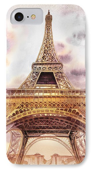IPhone Case featuring the painting Eiffel Tower Vintage Art by Irina Sztukowski