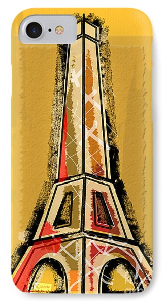 Eiffel Tower Yellow And Red Phone Case by Robyn Saunders