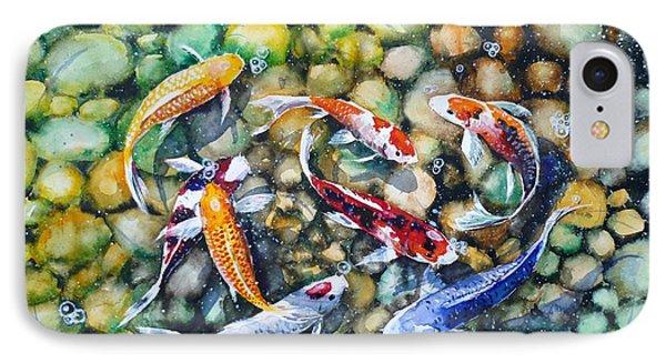 Eight Koi Fish Playing With Bubbles Phone Case by Zaira Dzhaubaeva