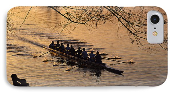 Eight Man Crew Rowing Along Montlake Cut  IPhone Case