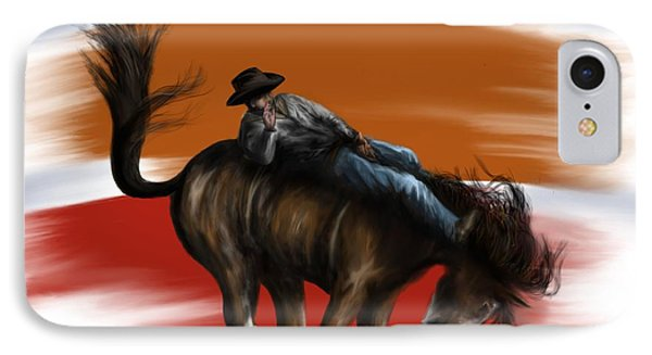 Eight Seconds - Rodeo Bronco IPhone Case by Ron Grafe