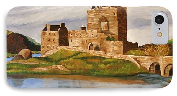 IPhone Case featuring the painting Eilean Donan Castle by Christy Saunders Church