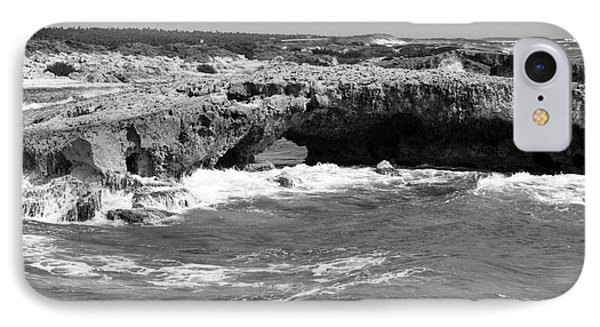 El Mirador Natural Rock Arch Bridge East Coast Of Cozumel Mexico Black And White IPhone Case by Shawn O'Brien