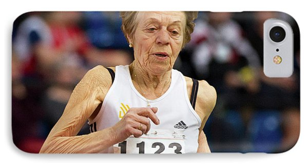 Elderly Female Athlete In Competition IPhone Case