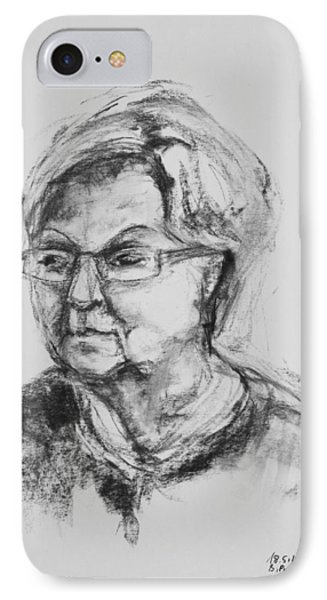 Elderly Lady With Glasses Phone Case by Barbara Pommerenke