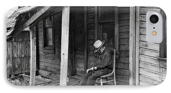 Elderly Man Doses On His Porch Phone Case by Underwood Archives