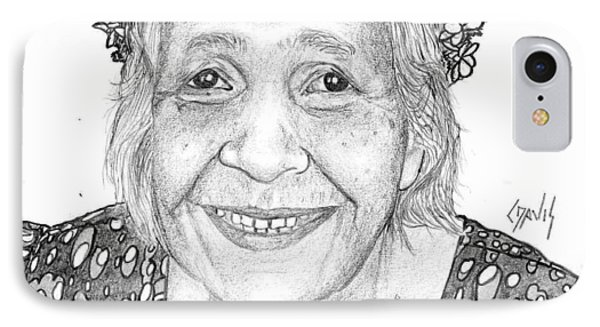 IPhone Case featuring the drawing Elderly Marshallese Woman by Lew Davis
