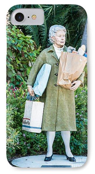 Elderly Shopper Statue Key West Phone Case by Ian Monk