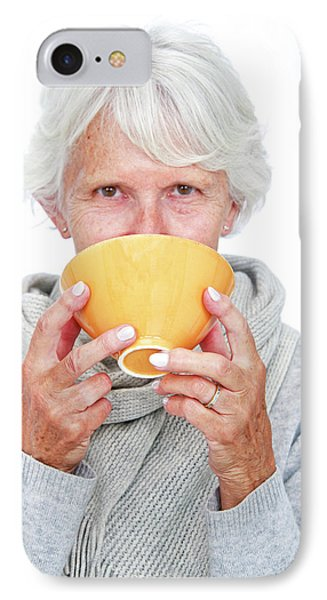Elderly Woman With A Hot Drink IPhone Case