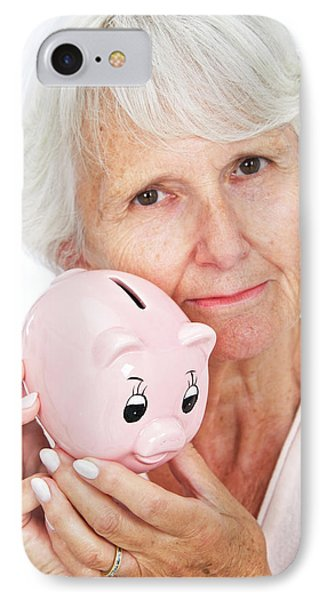 Elderly Woman With A Piggy Bank IPhone Case by Lea Paterson