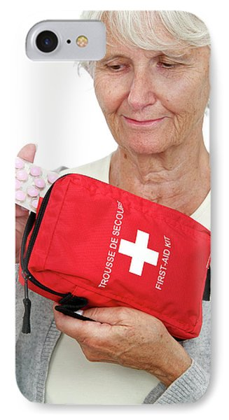 Elderly Woman With First Aid Kit IPhone Case