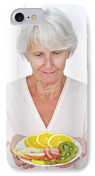 Elderly Woman With Fruit IPhone Case