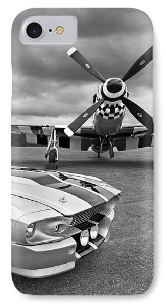 Eleanor Mustang With P51 Black And White Phone Case by Gill Billington