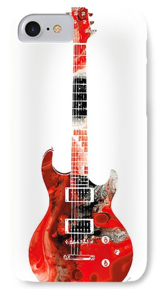 Electric Guitar - Buy Colorful Abstract Musical Instrument IPhone Case by Sharon Cummings