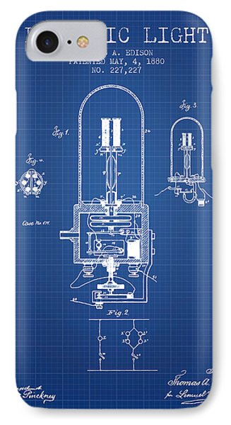 Electric Light Patent From 1880 - Blueprint IPhone Case by Aged Pixel