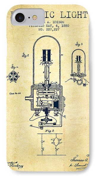 Electric Light Patent From 1880 - Vintage IPhone Case by Aged Pixel