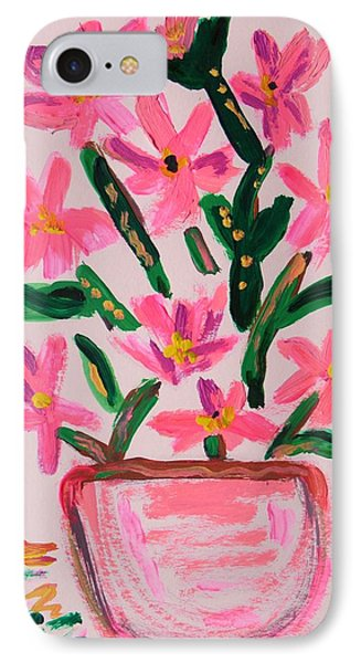 Electric Pink Flowers IPhone Case by Mary Carol Williams