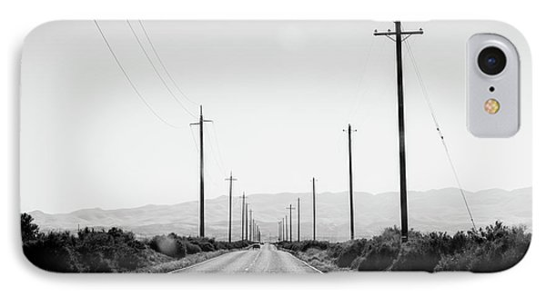 Electric Poles On Both Sides Of A Road IPhone Case by Panoramic Images