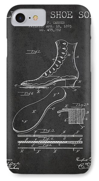 Electric Shoe Sole Patent From 1893 - Charcoal IPhone Case by Aged Pixel