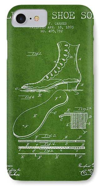 Electric Shoe Sole Patent From 1893 - Green IPhone Case by Aged Pixel