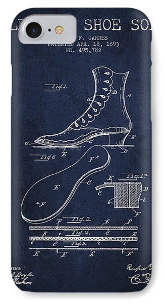 Electric Shoe Sole Patent From 1893 - Navy Blue IPhone Case
