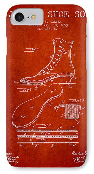 Electric Shoe Sole Patent From 1893 - Red IPhone Case