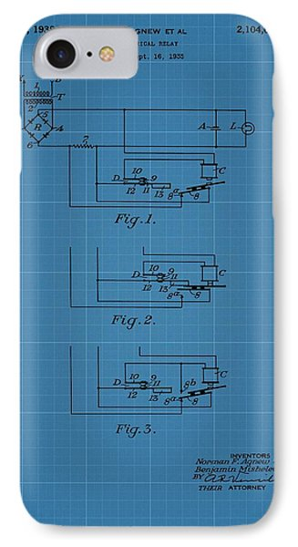 Electrical Relay Blueprint Patent IPhone Case by Dan Sproul