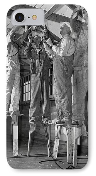 Electricians On Stilts IPhone Case by Underwood Archives