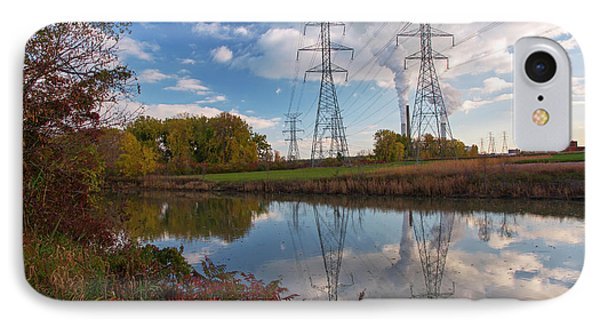 Electricity Pylons By A Lake IPhone Case