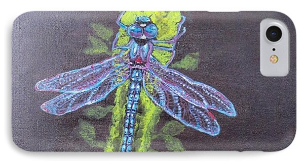 IPhone Case featuring the painting Electrified Blue Dragonfly by Kimberlee Baxter