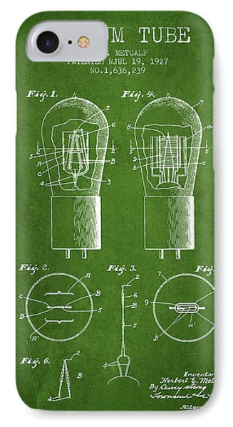 Electrode Vacuum Tube Patent From 1927 - Green IPhone Case