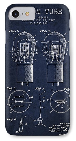 Electrode Vacuum Tube Patent From 1927 - Navy Blue IPhone Case