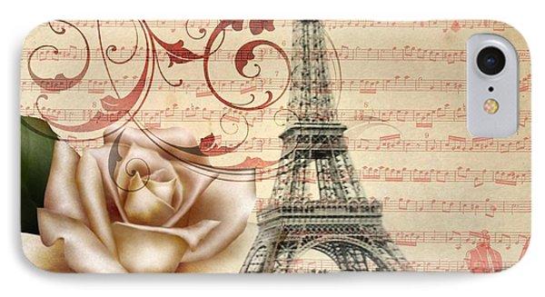Elegant White Rose Pink Chandelier Vintage Paris Eiffel Tower IPhone Case