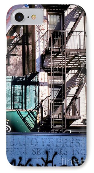 Elemental City - Fire Escape Graffiti Brownstone Phone Case by Miriam Danar