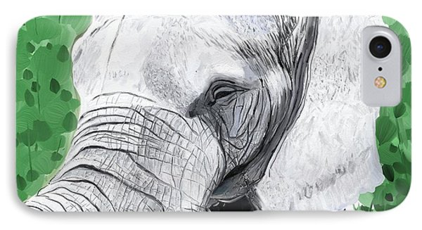 IPhone Case featuring the painting Elephant 1 by Jeanne Fischer