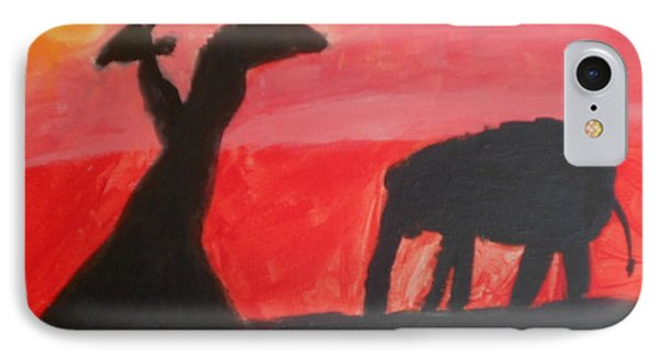 IPhone Case featuring the painting Elephant And Giraffe  by Epic Luis Art