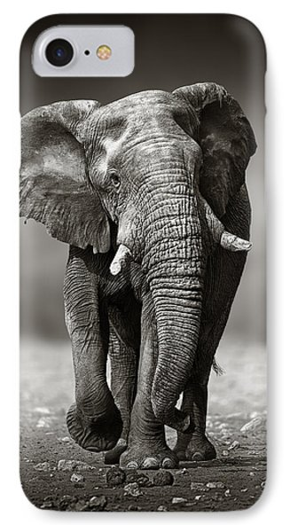 Elephant Approach From The Front IPhone 7 Case by Johan Swanepoel